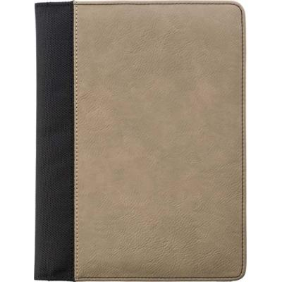Image of A5 Pad folio with PU cover, a large internal pocket, one smaller sewed on pocket, an elasticated pen loop, and a 50 page lines note pad